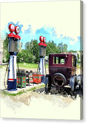 Vintage Gas Station Canvas Print by Elaine Plesser
