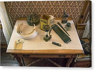 Canvas Print featuring the photograph Vintage Gentlemen's Preparation Table by Gary Slawsky