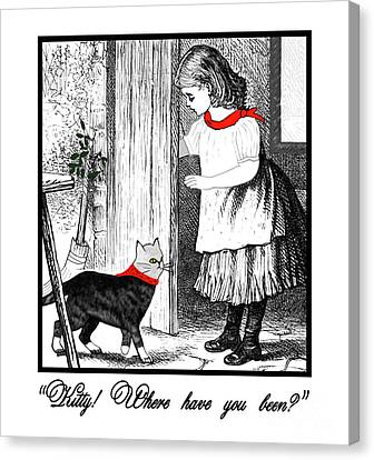 Canvas Print featuring the painting Vintage Girl Lets In Her Gray Cat by Marian Cates