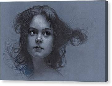 Vintage Girl - Pencil Drawing Canvas Print