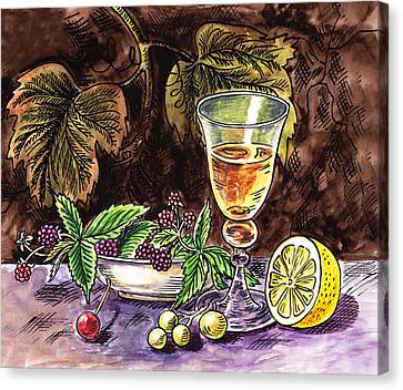 Still Life Of Wine And Grapes Canvas Print - Vintage Glass With Lemon And Berries by Irina Sztukowski