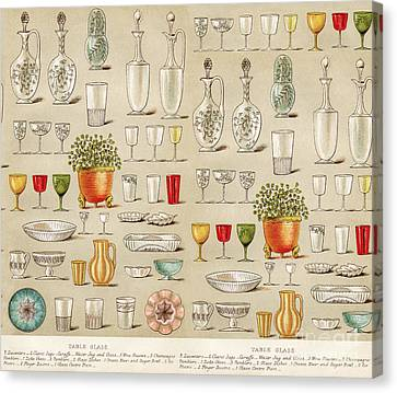 Vintage Glassware Collage Canvas Print by Anne Kitzman