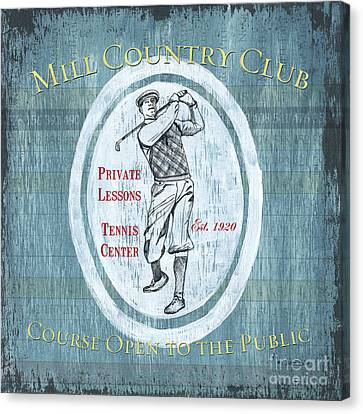 Vintage Golf Blue 2 Canvas Print by Debbie DeWitt