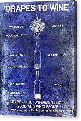 Vintage Grape To Wine Chart Blue Canvas Print