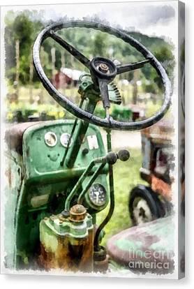 Vintage Green Tractor Steering Wheel Canvas Print by Edward Fielding