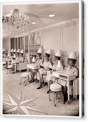 Vintage Hair Salon Ladies Hairdryers Canvas Print