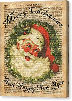 Father Christmas Canvas Print - Vintage Happy Santa Christmas Greetings Festive Holidays Decor New Year Card by Jacob Kuch