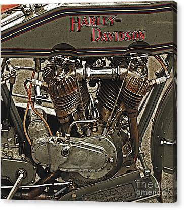 Vintage Harley Davidson. Canvas Print by Curt Johnson
