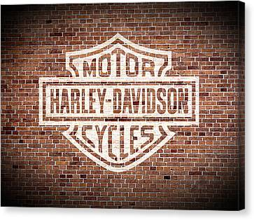 Vintage Harley Davidson Logo Painted On Old Brick Wall Canvas Print by Design Turnpike