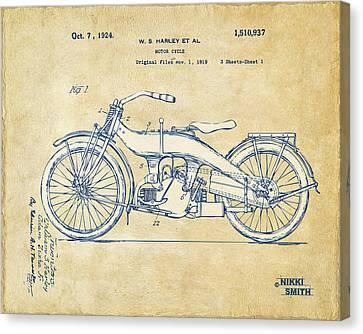 Vintage Harley-davidson Motorcycle 1924 Patent Artwork Canvas Print by Nikki Smith