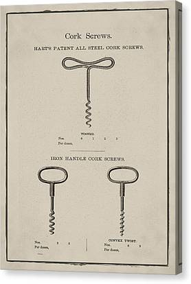 Vintage Hart's Patent All Steel Cork Screws Canvas Print by Bill Cannon