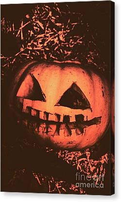 Vintage Horror Pumpkin Head Canvas Print by Jorgo Photography - Wall Art Gallery