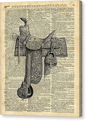 Vintage Horse Saddle Illustration Over Old Book Page Canvas Print
