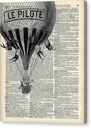 Vintage Hot Air Balloon Illustration,antique Dictionary Book Page Design Canvas Print by Jacob Kuch