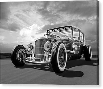 Vintage Hot Rod In Black And White Canvas Print by Gill Billington