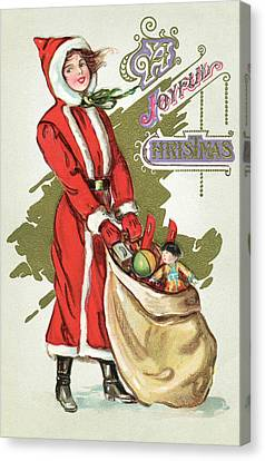 Vintage Illustration Of A Girl In A Santa Claus Suit With A Bag Of Christmas Toys Canvas Print by American School