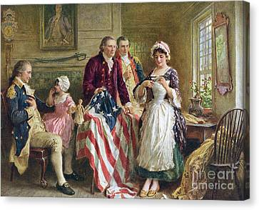 Vintage Illustration Of George Washington Watching Betsy Ross Sew The American Flag Canvas Print