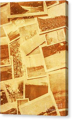 Vintage Image Of Various Photographs On Table  Canvas Print