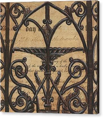 Vintage Iron Scroll Gate 1 Canvas Print by Debbie DeWitt