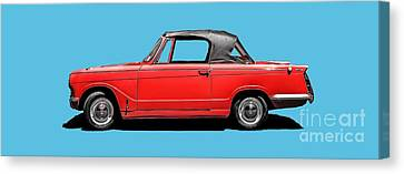 Vintage Italian Automobile Red Tee Canvas Print by Edward Fielding
