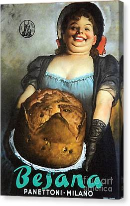 Vintage Italian Fresh Baked Bread Canvas Print