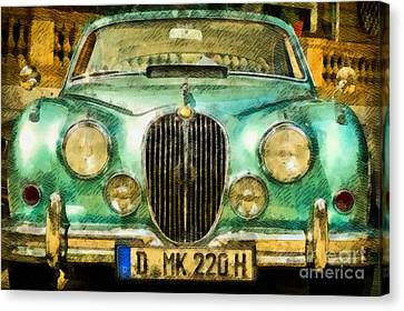 Volkswagon Canvas Print - Vintage Jaguar Pop Art by John Springfield