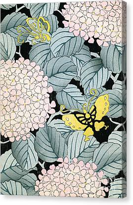 Vintage Japanese Illustration Of A Hydrangea Blossoms And Butterflies Canvas Print by Japanese School
