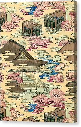 Vintage Japanese Illustration Of An Abstract Landscape With Stylized Houses Canvas Print by Japanese School