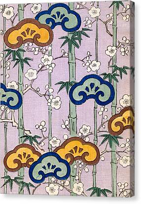 Vintage Japanese Illustration Of Bamboo And Blossom Canvas Print by Japanese School