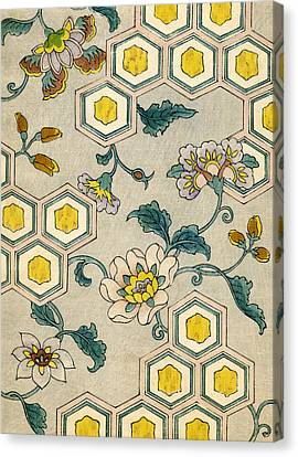 Flower Art Canvas Print - Vintage Japanese Illustration Of Blossoms On A Honeycomb Background by Japanese School