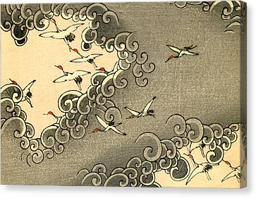 Vintage Japanese Illustration Of Cranes Flying In Grey Clouds  Canvas Print