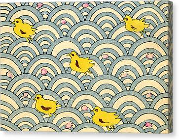 Ducklings Canvas Print - Vintage Japanese Illustration Of Ducklings by Japanese School