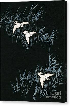 Vintage Japanese Illustration Of Three Cranes Flying In A Night Landscape Canvas Print by Japanese School