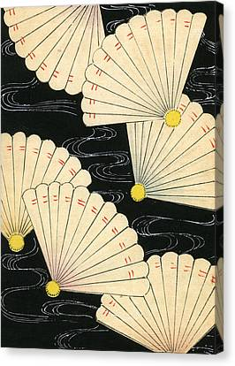 Vintage Japanese Woodblock Print Of White Fans On A Black Background Canvas Print by Japanese School