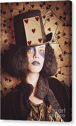 Vintage Jester Woman Wearing The Card Of Hearts Canvas Print