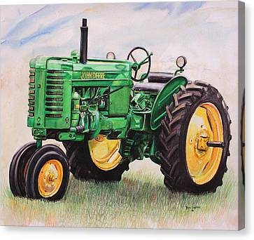Mix Media Canvas Print - Vintage John Deere Tractor by Toni Grote