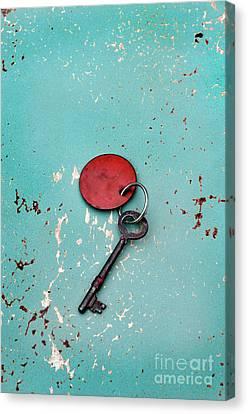 Vintage Key With Red Tag Canvas Print by Jill Battaglia