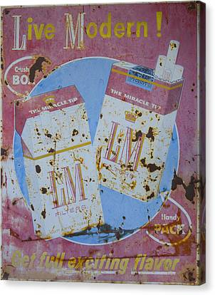 Vintage L And M Cigarette Sign Canvas Print by Christina Lihani