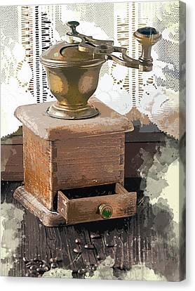 Vintage Lace Curtains And Coffee Grinder Canvas Print by Elaine Plesser