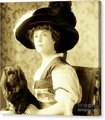 Canvas Print featuring the photograph Vintage Lady With Lapdog by Marian Cates