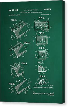 Vintage Lego Patent Green Canvas Print by Brooke Roby