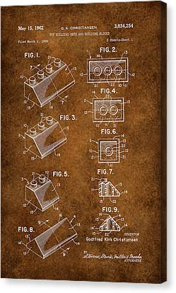 Vintage Lego Patent Grunge Canvas Print by Brooke Roby