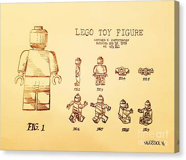 Vintage Lego Toy Figure Patent - Peach Background Canvas Print