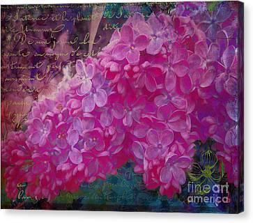 Vintage Lilacs, Vintage French Handwriting, Floral Art Canvas Print