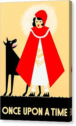 Vintage Little Red Riding Hood Poster Canvas Print by Mark E Tisdale