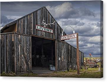 Horse Stable Canvas Print - Vintage Livery Stable by Randall Nyhof