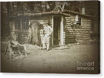 Cabin Window Canvas Print - Vintage Log Cabin by Linda Phelps