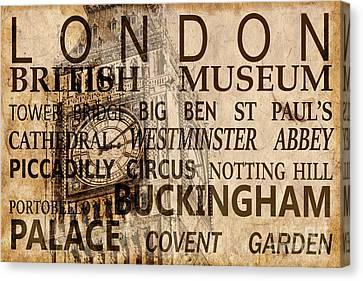 Londoners Canvas Print - Vintage London Sepia by Delphimages Photo Creations