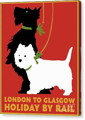 Vintage London To Glasgow By Rail Terrier Dogs Travel Poster Canvas Print by Tina Lavoie