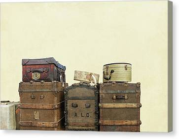 Steamer Trunks And Vintage Luggage Canvas Print
